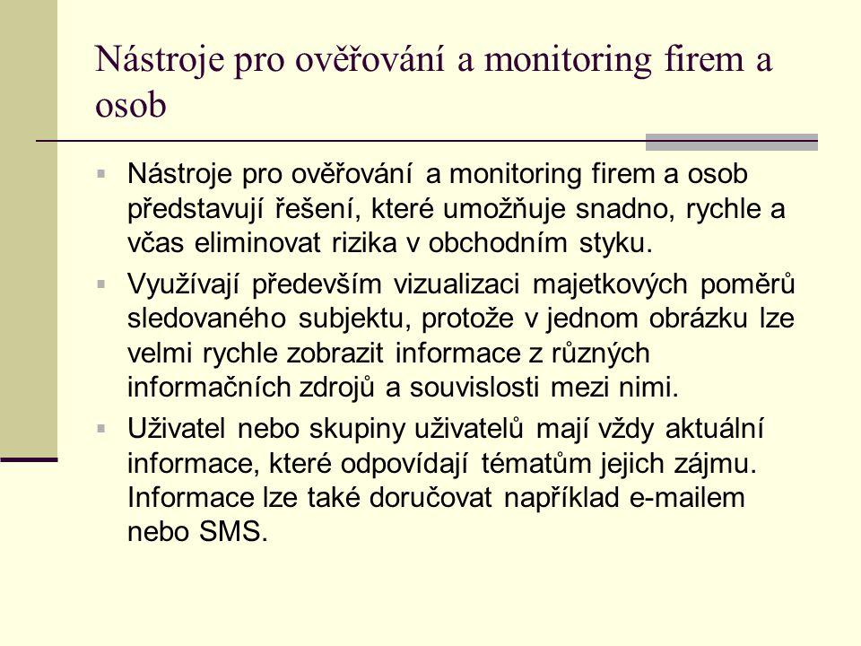 Nástroje pro ověřování a monitoring firem a osob  Nástroje pro ověřování a monitoring firem a osob představují řešení, které umožňuje snadno, rychle a včas eliminovat rizika v obchodním styku.