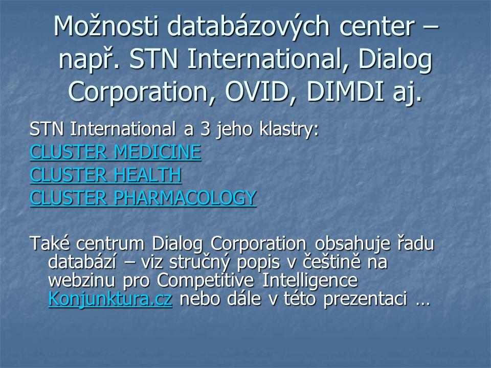 Možnosti databázových center – např. STN International, Dialog Corporation, OVID, DIMDI aj. STN International a 3 jeho klastry: CLUSTER MEDICINE CLUST