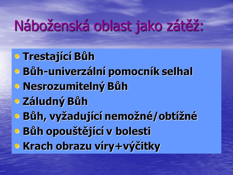 Náboženská oblast jako zátěž: Trestající Bůh Trestající Bůh Bůh-univerzální pomocník selhal Bůh-univerzální pomocník selhal Nesrozumitelný Bůh Nesrozumitelný Bůh Záludný Bůh Záludný Bůh Bůh, vyžadující nemožné/obtížné Bůh, vyžadující nemožné/obtížné Bůh opouštějící v bolesti Bůh opouštějící v bolesti Krach obrazu víry+výčitky Krach obrazu víry+výčitky