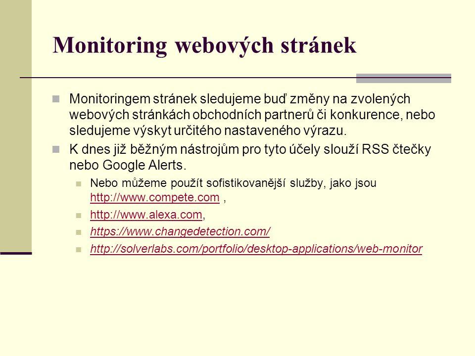 Monitoring webových stránek Monitoringem stránek sledujeme buď změny na zvolených webových stránkách obchodních partnerů či konkurence, nebo sledujeme výskyt určitého nastaveného výrazu.