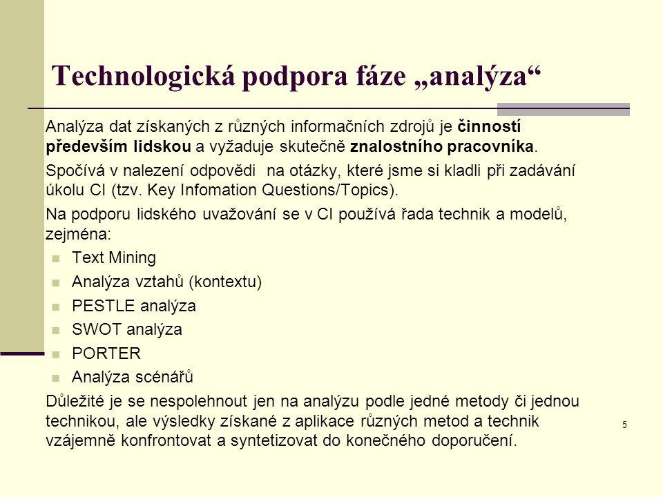 """Technologická podpora fáze """"analýza Analýza dat získaných z různých informačních zdrojů je činností především lidskou a vyžaduje skutečně znalostního pracovníka."""
