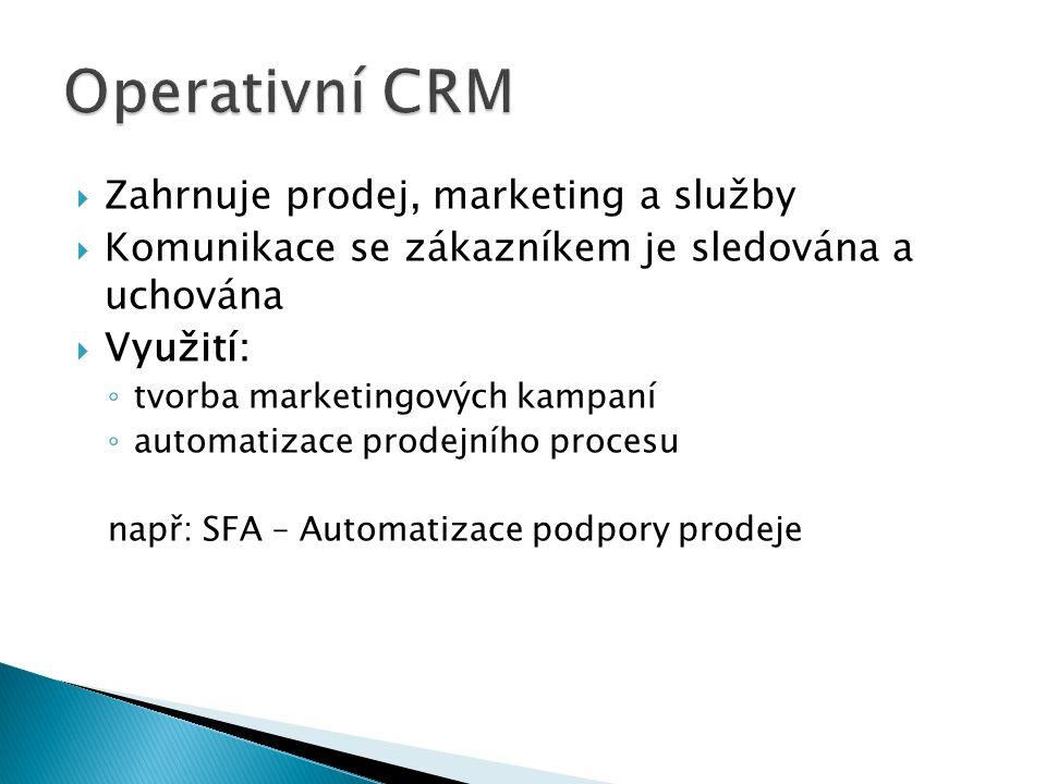  Zahrnuje prodej, marketing a služby  Komunikace se zákazníkem je sledována a uchována  Využití: ◦ tvorba marketingových kampaní ◦ automatizace prodejního procesu např: SFA – Automatizace podpory prodeje