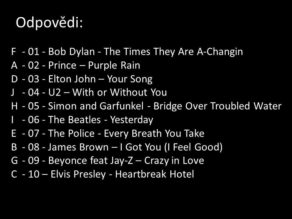 Odpovědi: F Bob Dylan - The Times They Are A-Changin A Prince – Purple Rain D Elton John – Your Song J U2 – With or Without You H Simon and Garfunkel - Bridge Over Troubled Water I The Beatles - Yesterday E The Police - Every Breath You Take B James Brown – I Got You (I Feel Good) G Beyonce feat Jay-Z – Crazy in Love C- 10 – Elvis Presley - Heartbreak Hotel