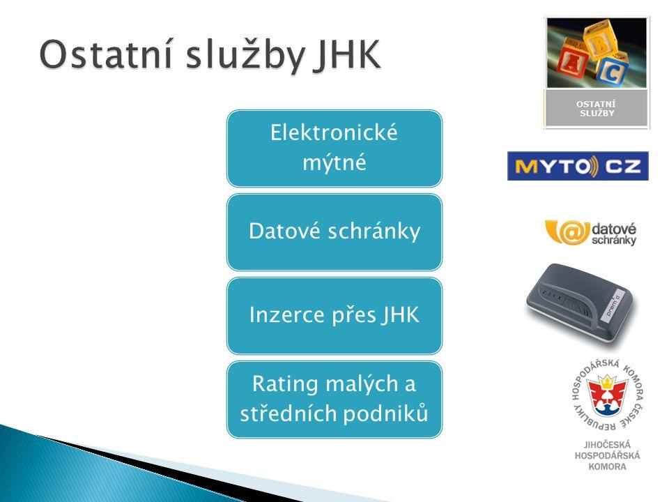 Elektronické mýtné Datové schránkyInzerce přes JHK Rating malých a středních podniků