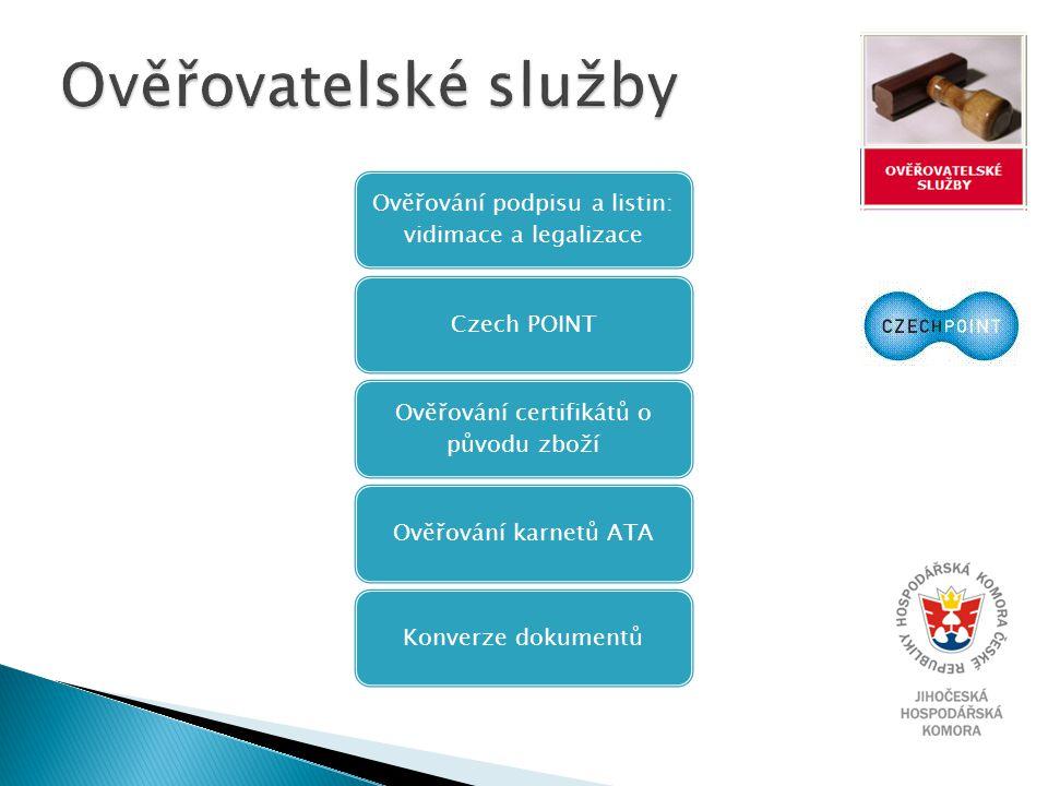 Ověřování podpisu a listin: vidimace a legalizace Czech POINT Ověřování certifikátů o původu zboží Ověřování karnetů ATAKonverze dokumentů