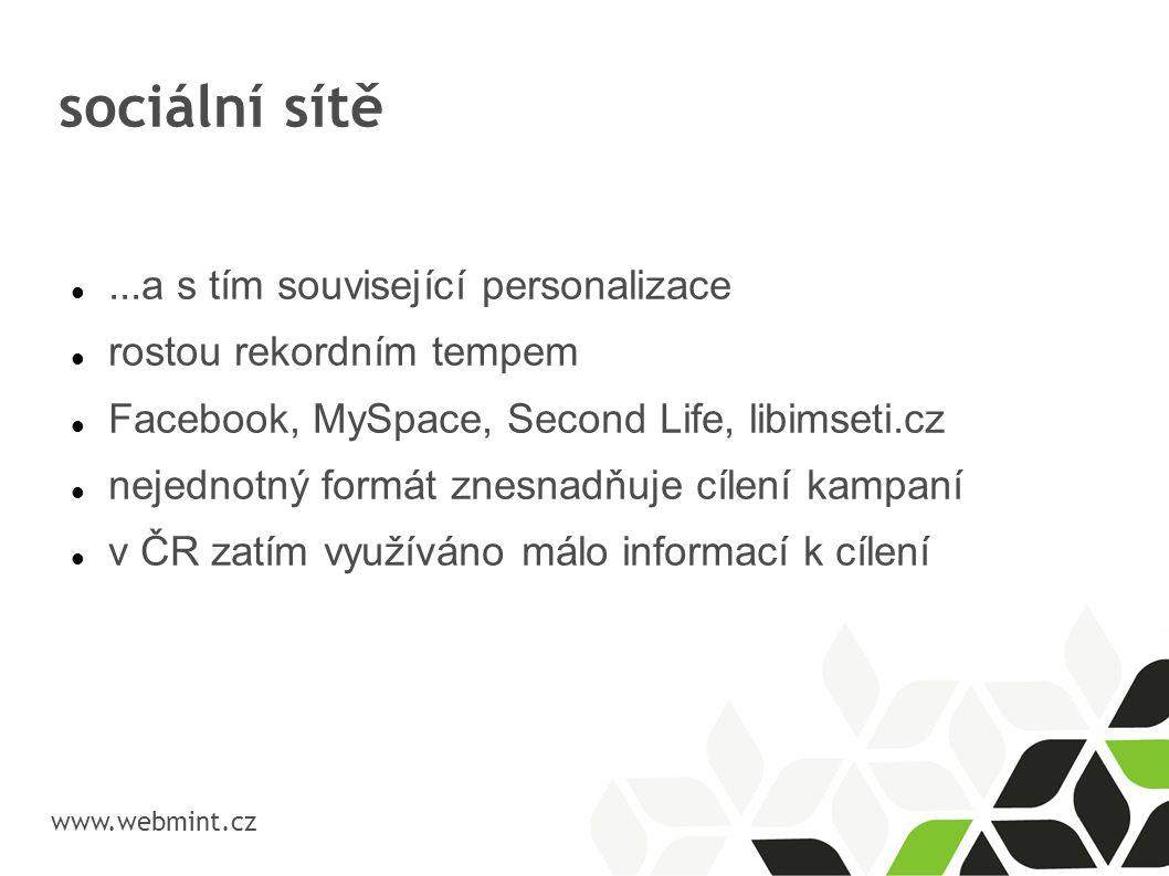 sociální sítě www.webmint.cz...a s tím související personalizace rostou rekordním tempem Facebook, MySpace, Second Life, libimseti.cz nejednotný formá