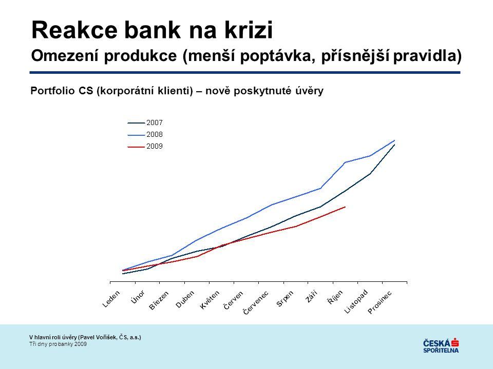 V hlavní roli úvěry (Pavel Voříšek, ČS, a.s.) Tři dny pro banky 2009 Reakce bank na krizi Omezení produkce (menší poptávka, přísnější pravidla) Portfolio CS (korporátní klienti) – nově poskytnuté úvěry