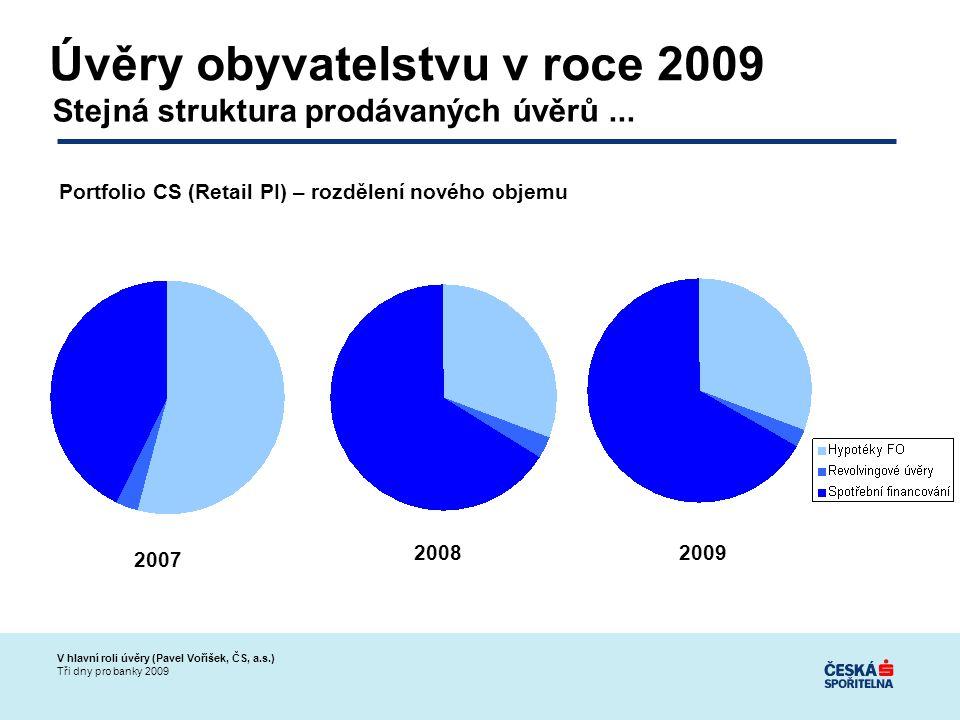 V hlavní roli úvěry (Pavel Voříšek, ČS, a.s.) Tři dny pro banky 2009 Úvěry obyvatelstvu v roce 2009 Stejná struktura prodávaných úvěrů...
