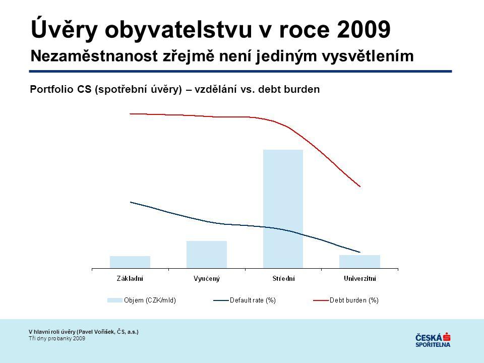 V hlavní roli úvěry (Pavel Voříšek, ČS, a.s.) Tři dny pro banky 2009 Úvěry obyvatelstvu v roce 2009 Nezaměstnanost zřejmě není jediným vysvětlením Portfolio CS (spotřební úvěry) – vzdělání vs.