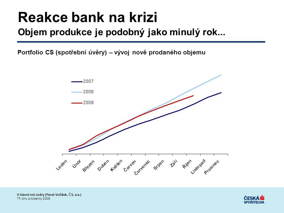 V hlavní roli úvěry (Pavel Voříšek, ČS, a.s.) Tři dny pro banky 2009 Reakce bank na krizi Objem produkce je podobný jako minulý rok...