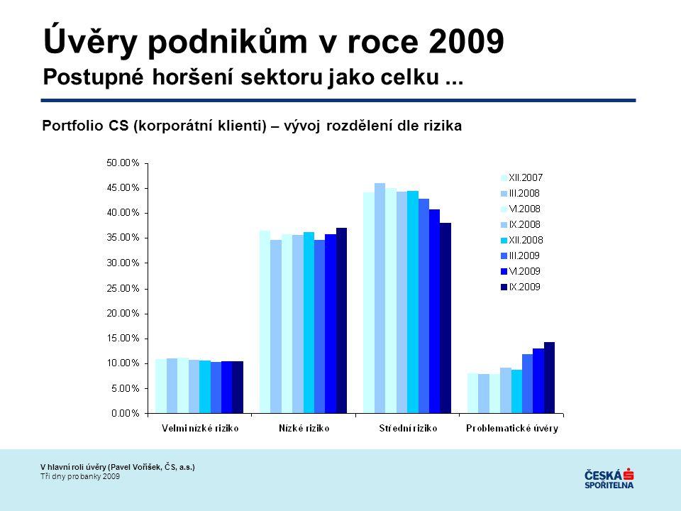 V hlavní roli úvěry (Pavel Voříšek, ČS, a.s.) Tři dny pro banky 2009 Úvěry podnikům v roce 2009 Postupné horšení sektoru jako celku...