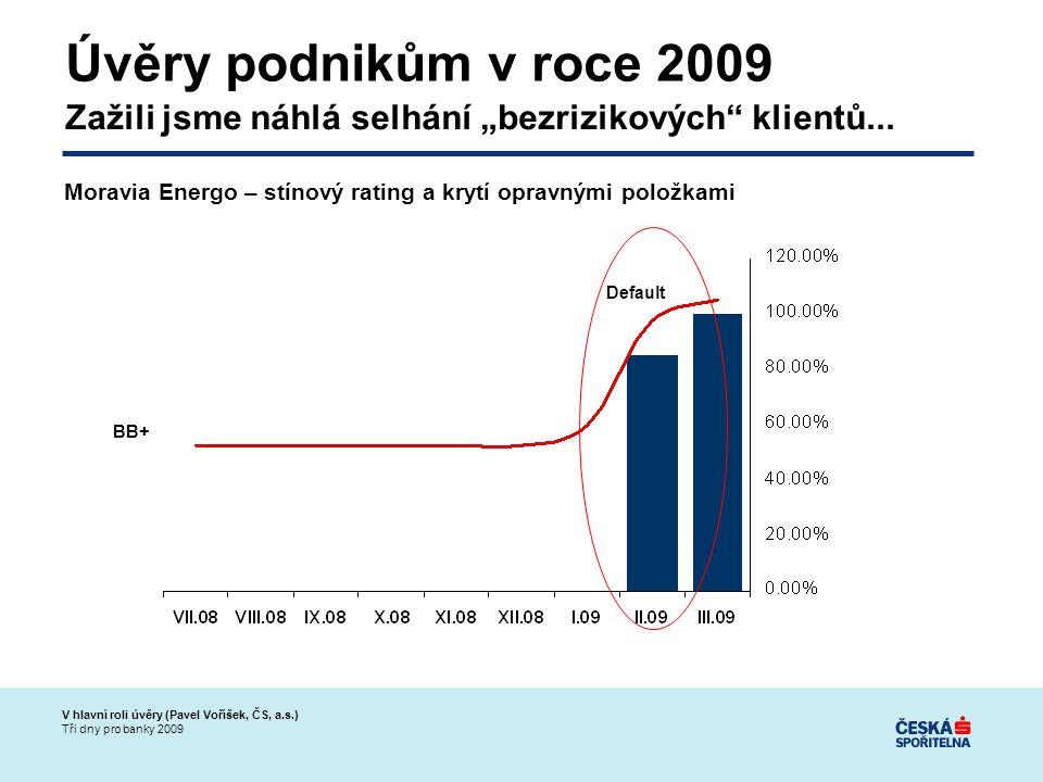 """V hlavní roli úvěry (Pavel Voříšek, ČS, a.s.) Tři dny pro banky 2009 Úvěry podnikům v roce 2009 Zažili jsme náhlá selhání """"bezrizikových klientů..."""