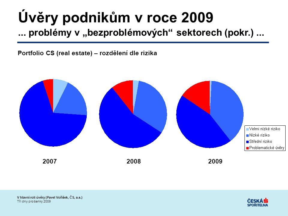 V hlavní roli úvěry (Pavel Voříšek, ČS, a.s.) Tři dny pro banky 2009 Úvěry podnikům v roce 2009...