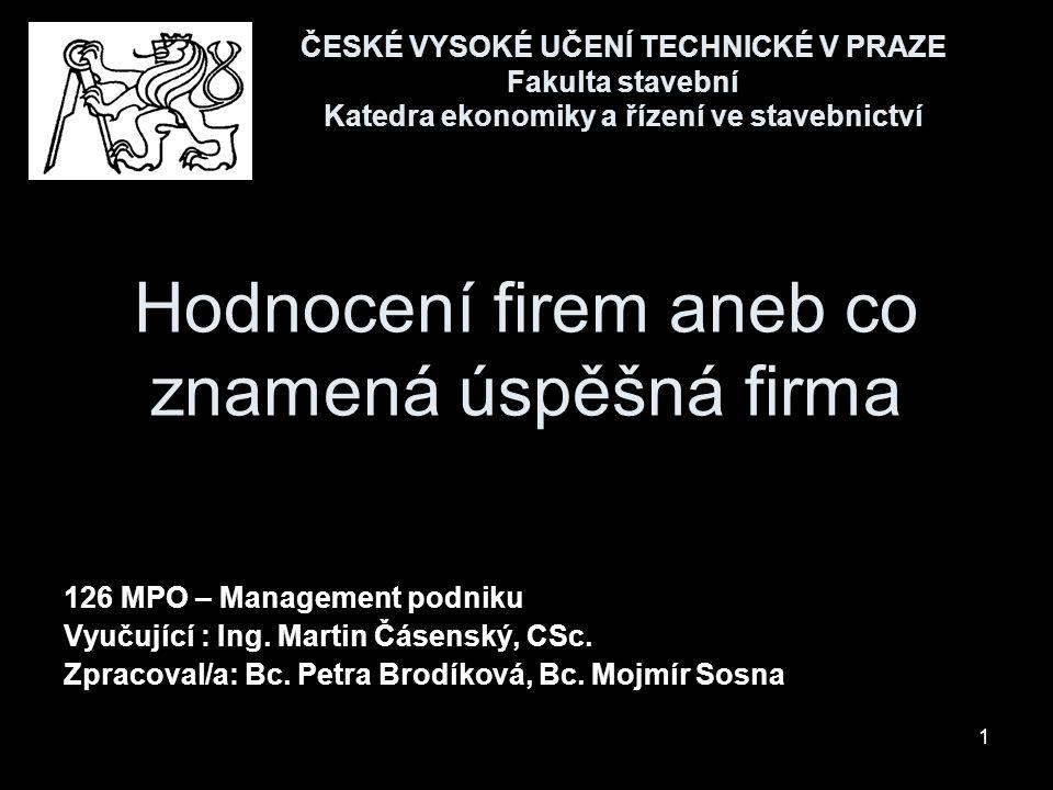 1 Hodnocení firem aneb co znamená úspěšná firma 126 MPO – Management podniku Vyučující : Ing. Martin Čásenský, CSc. Zpracoval/a: Bc. Petra Brodíková,