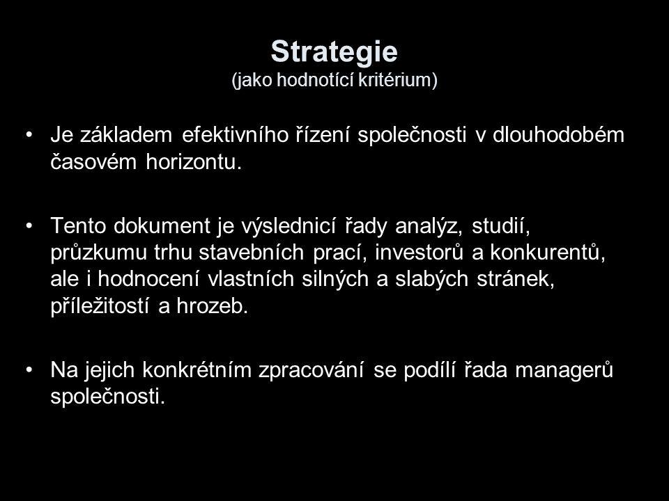 Strategie (jako hodnotící kritérium) Je základem efektivního řízení společnosti v dlouhodobém časovém horizontu. Tento dokument je výslednicí řady ana
