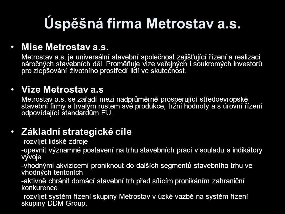 Úspěšná firma Metrostav a.s. Mise Metrostav a.s. Metrostav a.s. je universální stavební společnost zajišťující řízení a realizaci náročných stavebních