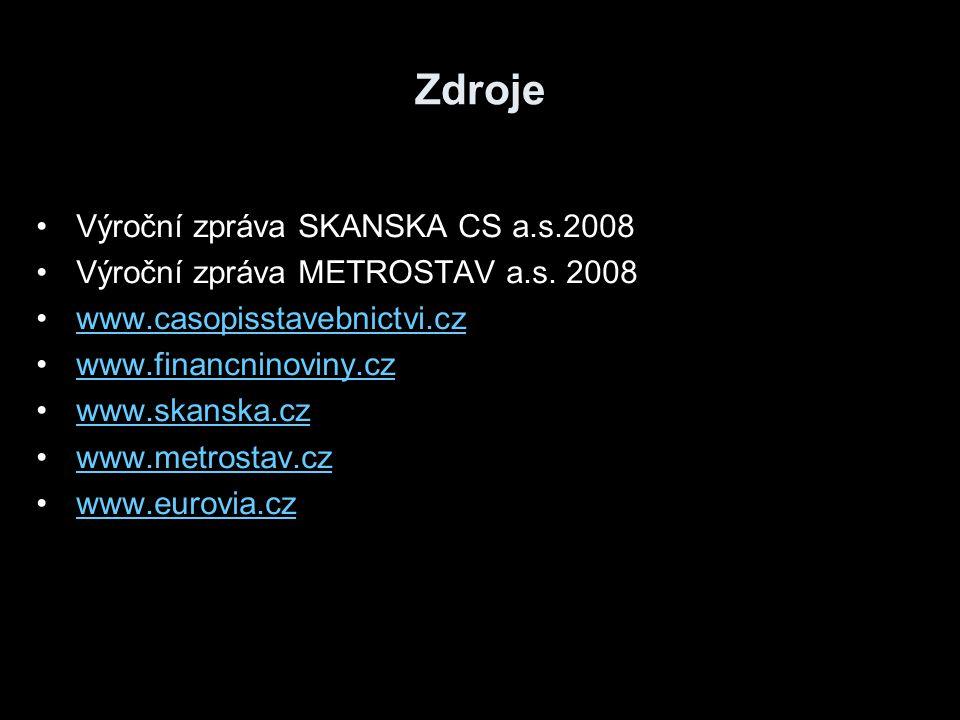 Zdroje Výroční zpráva SKANSKA CS a.s.2008 Výroční zpráva METROSTAV a.s. 2008 www.casopisstavebnictvi.cz www.financninoviny.cz www.skanska.cz www.metro