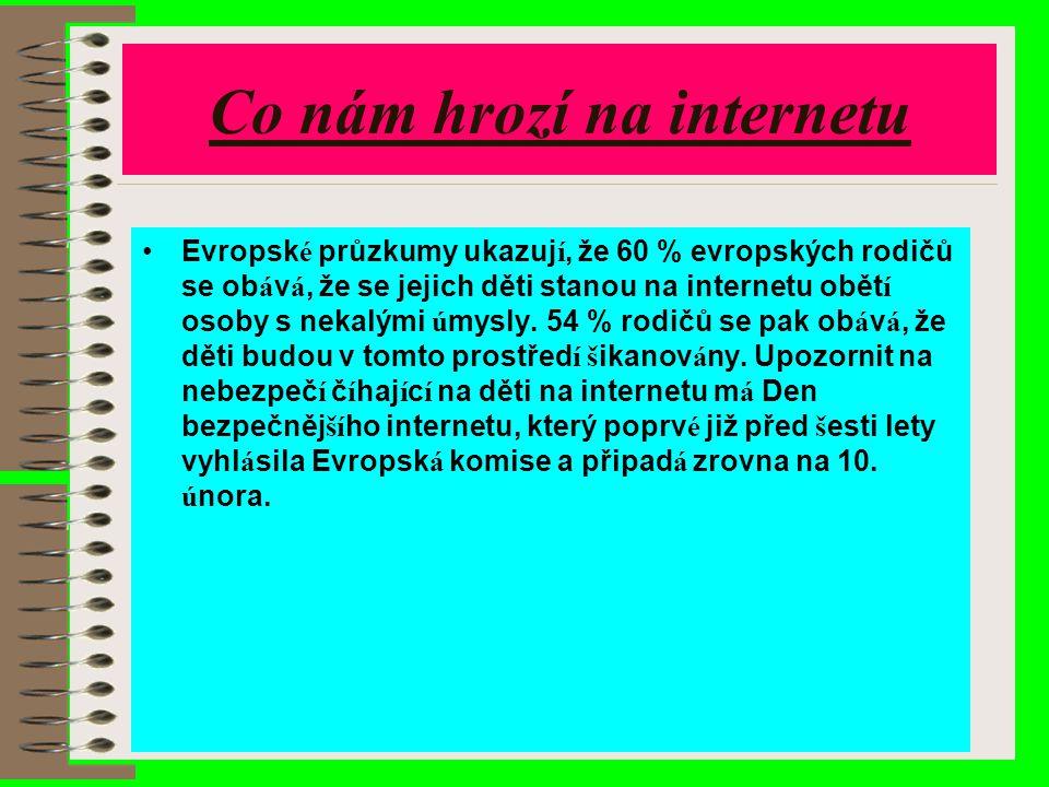 Co nám hrozí na internetu Evropsk é průzkumy ukazuj í, že 60 % evropských rodičů se ob á v á, že se jejich děti stanou na internetu obět í osoby s nek