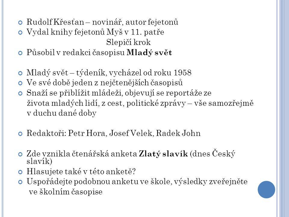 Rudolf Křesťan – novinář, autor fejetonů Vydal knihy fejetonů Myš v 11. patře Slepičí krok Působil v redakci časopisu Mladý svět Mladý svět – týdeník,