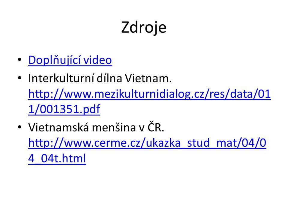 Zdroje Doplňující video Interkulturní dílna Vietnam.