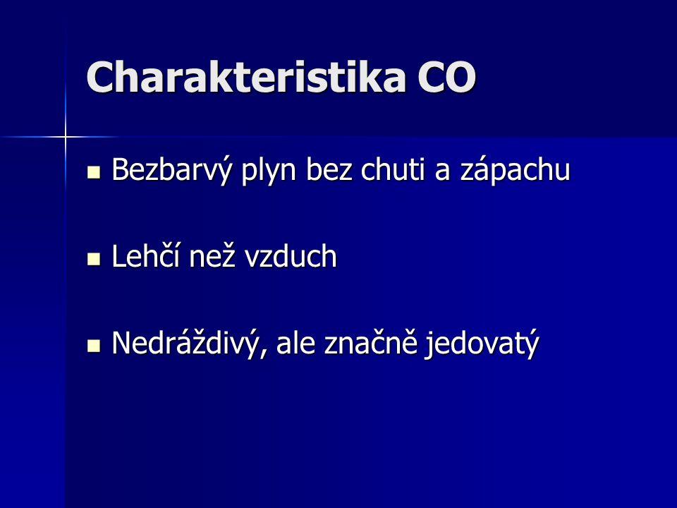 Charakteristika CO Bezbarvý plyn bez chuti a zápachu Bezbarvý plyn bez chuti a zápachu Lehčí než vzduch Lehčí než vzduch Nedráždivý, ale značně jedova
