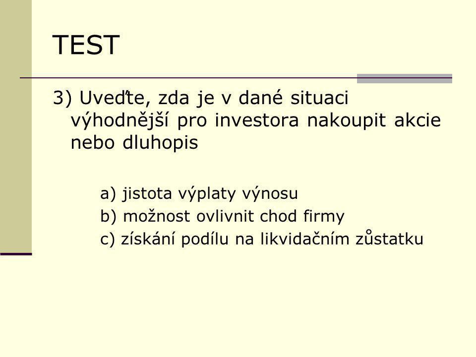 TEST 3) Uveďte, zda je v dané situaci výhodnější pro investora nakoupit akcie nebo dluhopis a) jistota výplaty výnosu b) možnost ovlivnit chod firmy c) získání podílu na likvidačním zůstatku
