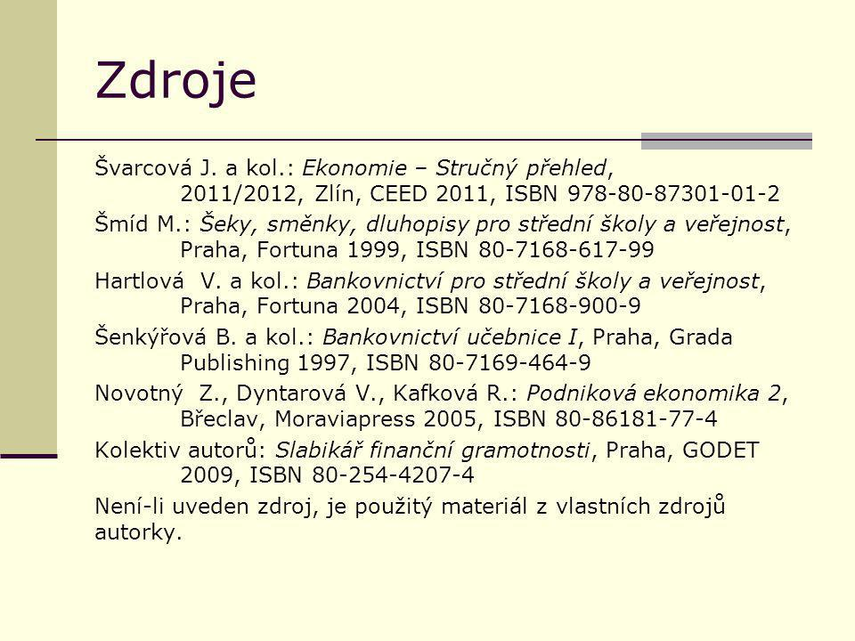 Zdroje Švarcová J. a kol.: Ekonomie – Stručný přehled, 2011/2012, Zlín, CEED 2011, ISBN 978-80-87301-01-2 Šmíd M.: Šeky, směnky, dluhopisy pro střední
