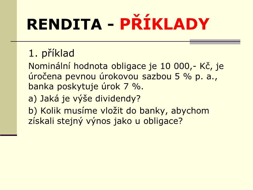 RENDITA - PŘÍKLADY 1.