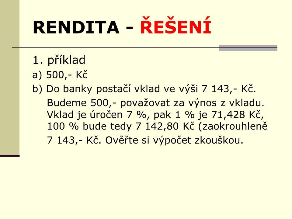 RENDITA - ŘEŠENÍ 1. příklad a) 500,- Kč b) Do banky postačí vklad ve výši 7 143,- Kč.