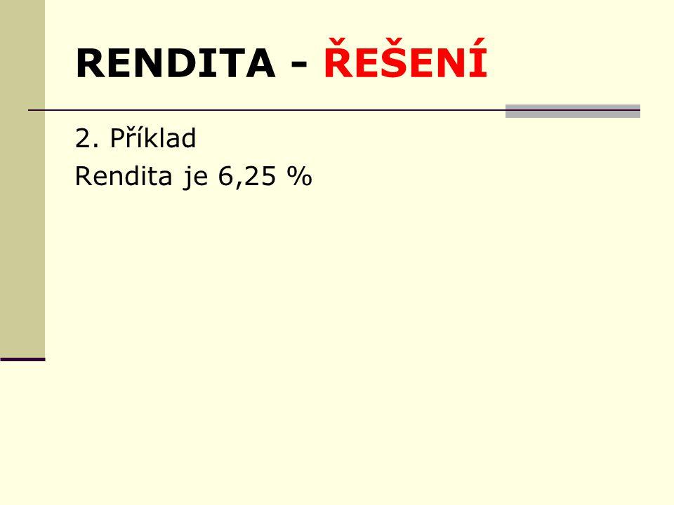 RENDITA - ŘEŠENÍ 2. Příklad Rendita je 6,25 %