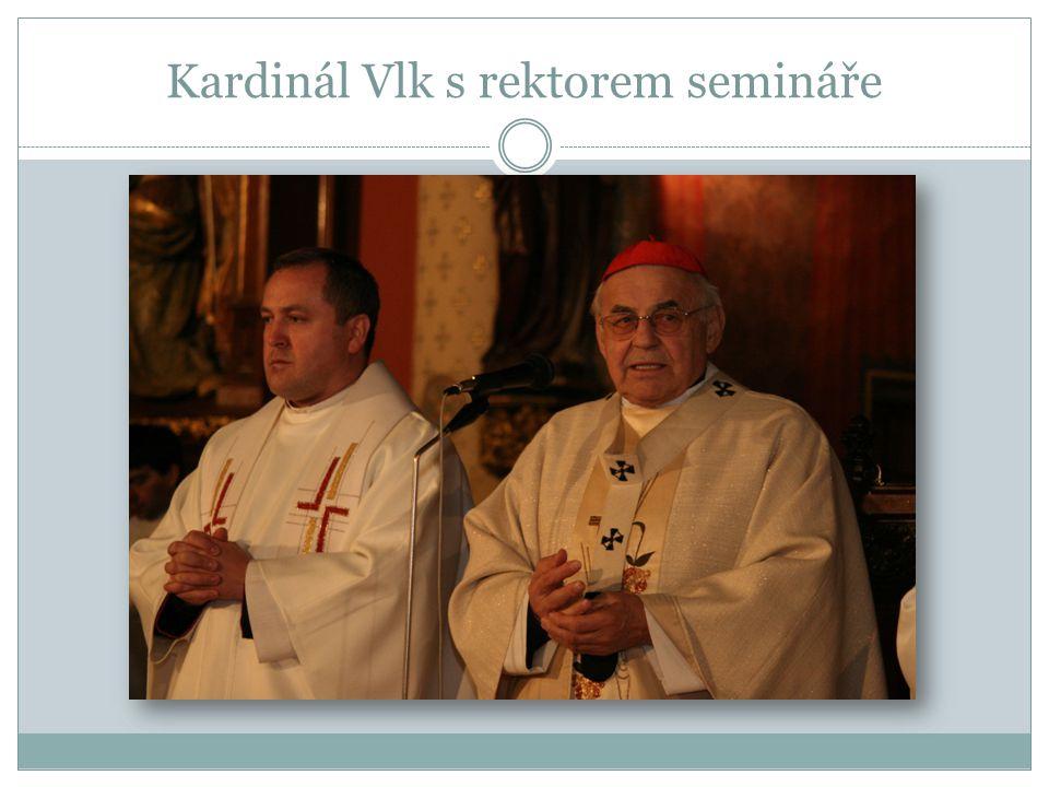 Kardinál Vlk s rektorem semináře