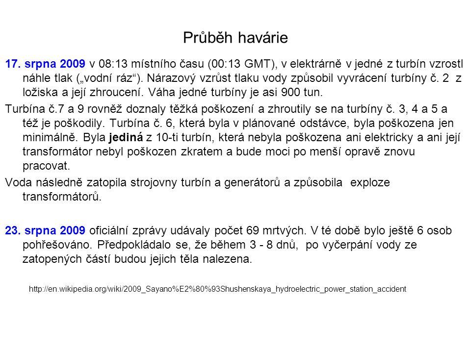 """Průběh havárie 17. srpna 2009 v 08:13 místního času (00:13 GMT), v elektrárně v jedné z turbín vzrostl náhle tlak (""""vodní ráz""""). Nárazový vzrůst tlaku"""