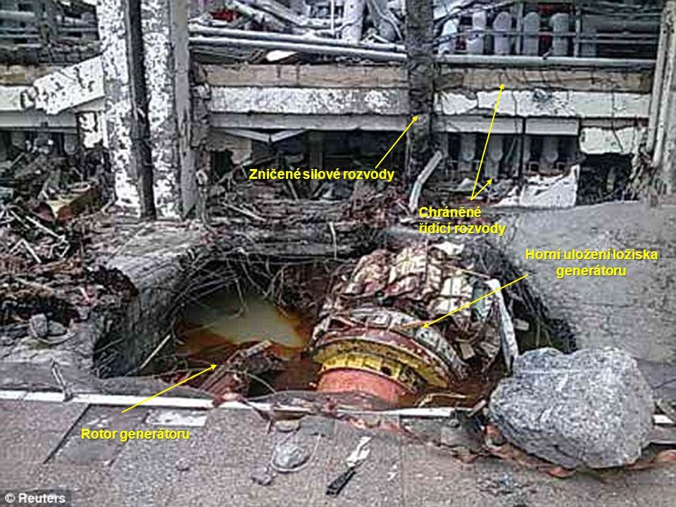Horní uložení ložiska generátoru Rotor generátoru Zničené silové rozvody Chráněné řídící rozvody