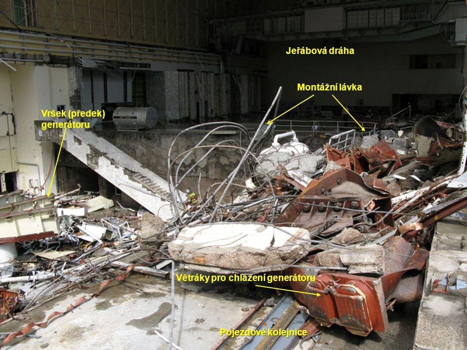 Montážní lávka Větráky pro chlazení generátoru Vršek (předek) generátoru Jeřábová dráha Pojezdové kolejnice