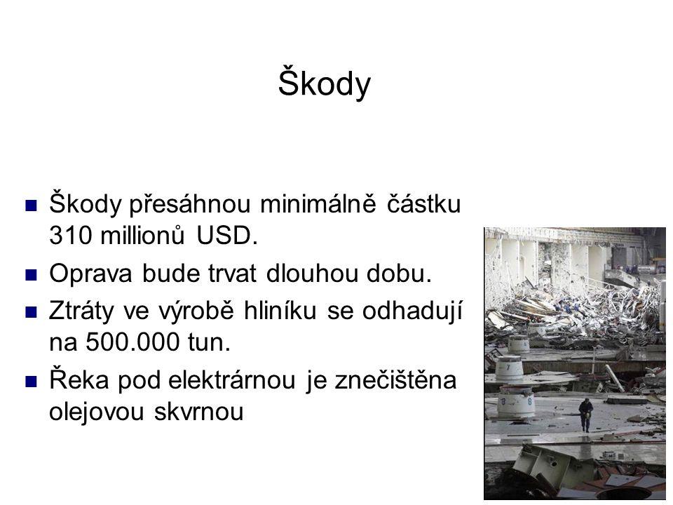 Škody Škody přesáhnou minimálně částku 310 millionů USD. Oprava bude trvat dlouhou dobu. Ztráty ve výrobě hliníku se odhadují na 500.000 tun. Řeka pod