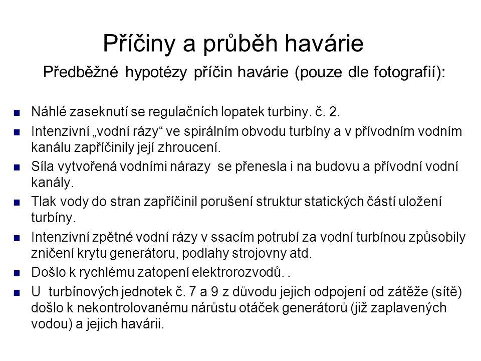"""Předběžné hypotézy příčin havárie (pouze dle fotografií): Náhlé zaseknutí se regulačních lopatek turbiny. č. 2. Intenzivní """"vodní rázy"""" ve spirálním o"""