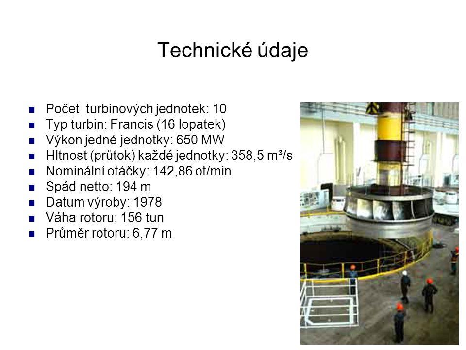 Technické údaje Počet turbinových jednotek: 10 Typ turbin: Francis (16 lopatek) Výkon jedné jednotky: 650 MW Hltnost (průtok) každé jednotky: 358,5 m³