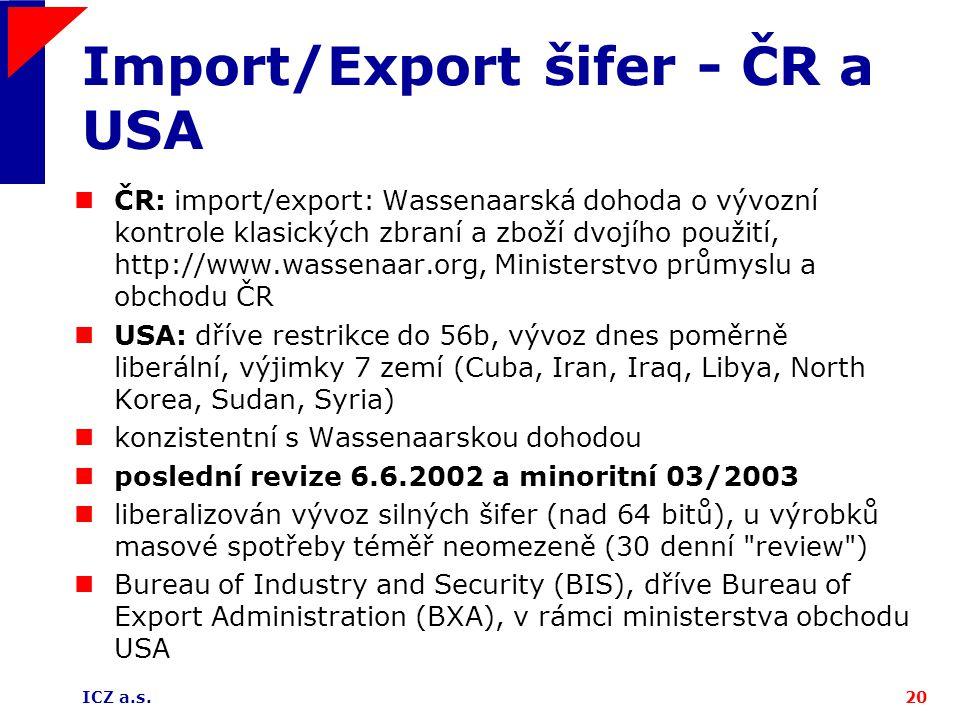 ICZ a.s.20 Import/Export šifer - ČR a USA ČR: import/export: Wassenaarská dohoda o vývozní kontrole klasických zbraní a zboží dvojího použití, http://