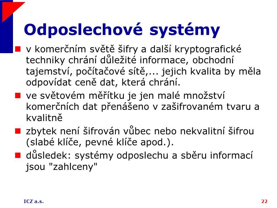ICZ a.s.22 Odposlechové systémy v komerčním světě šifry a další kryptografické techniky chrání důležité informace, obchodní tajemství, počítačové sítě