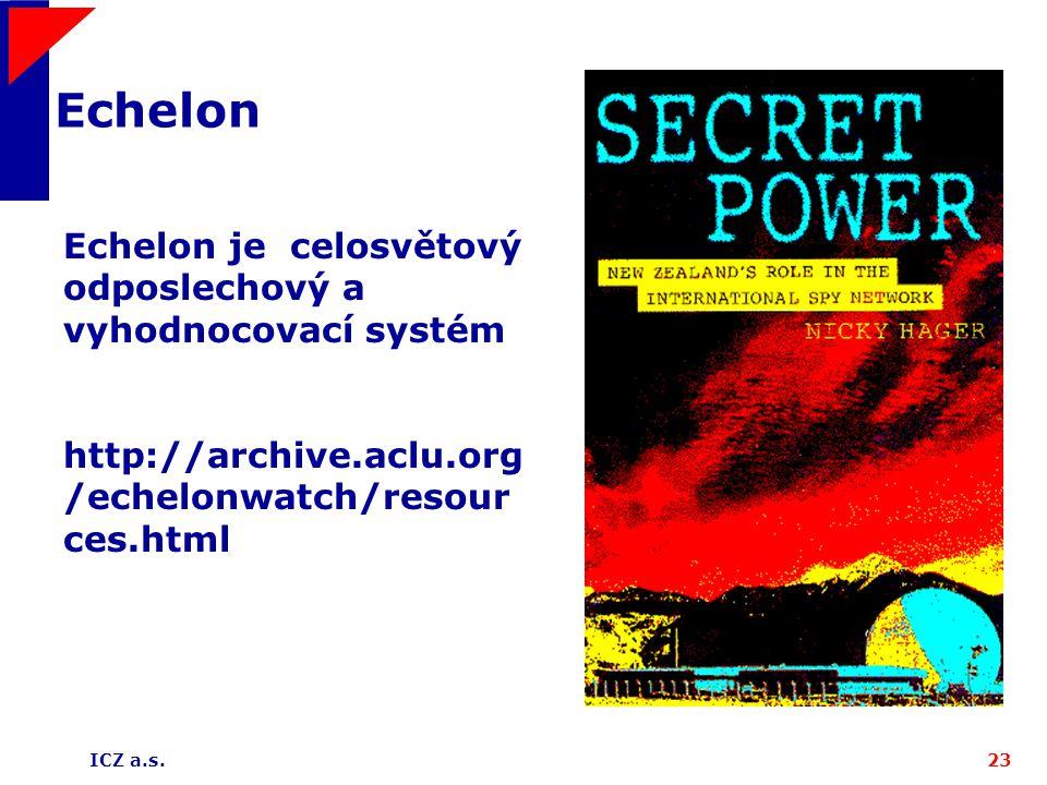 ICZ a.s.23 Echelon Echelon je celosvětový odposlechový a vyhodnocovací systém http://archive.aclu.org /echelonwatch/resour ces.html
