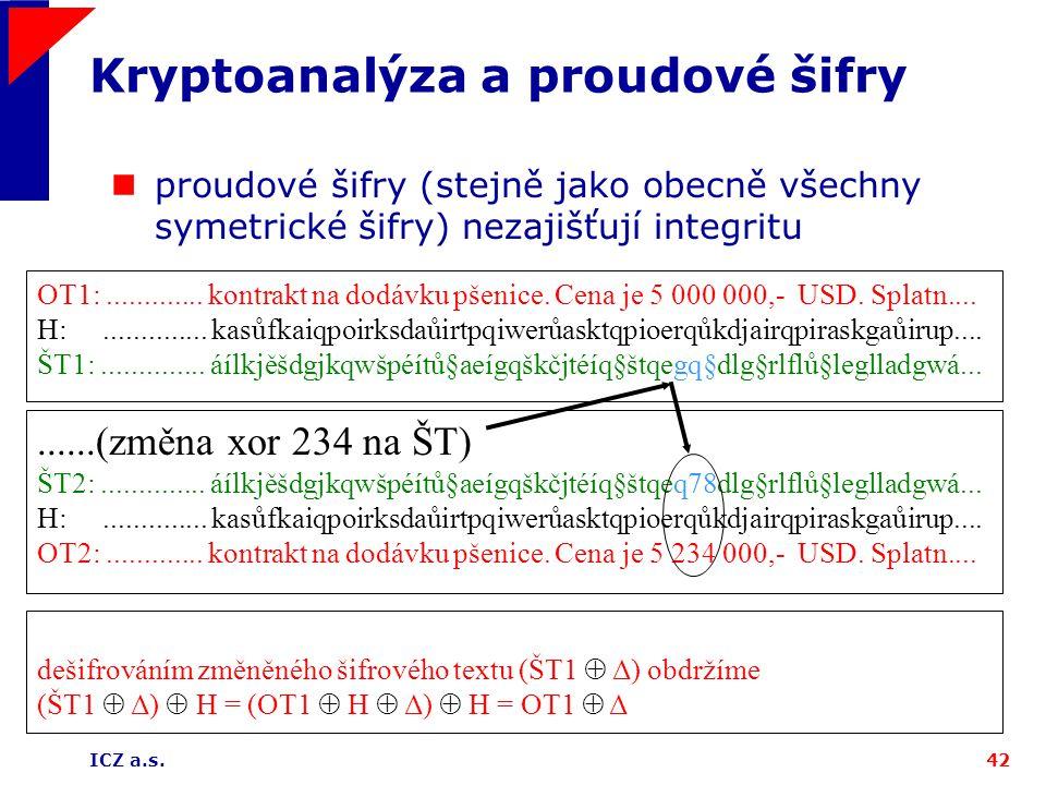 ICZ a.s.42 Kryptoanalýza a proudové šifry proudové šifry (stejně jako obecně všechny symetrické šifry) nezajišťují integritu OT1:............. kontrak