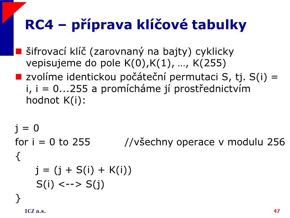 ICZ a.s.47 RC4 – příprava klíčové tabulky šifrovací klíč (zarovnaný na bajty) cyklicky vepisujeme do pole K(0),K(1), …, K(255) zvolíme identickou počá