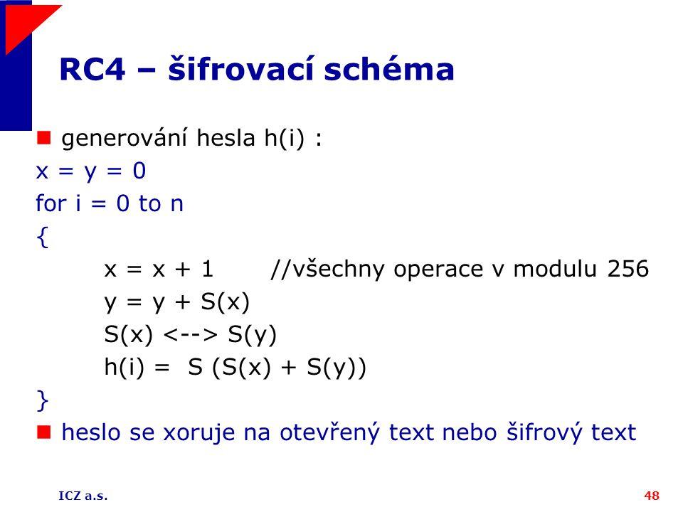 ICZ a.s.48 RC4 – šifrovací schéma generování hesla h(i) : x = y = 0 for i = 0 to n { x = x + 1 //všechny operace v modulu 256 y = y + S(x) S(x) S(y) h