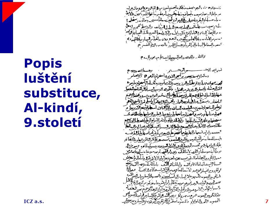 ICZ a.s.7 Popis luštění substituce, Al-kindí, 9.století