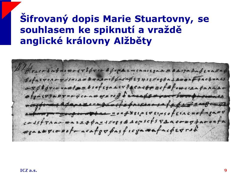 ICZ a.s.9 Šifrovaný dopis Marie Stuartovny, se souhlasem ke spiknutí a vraždě anglické královny Alžběty