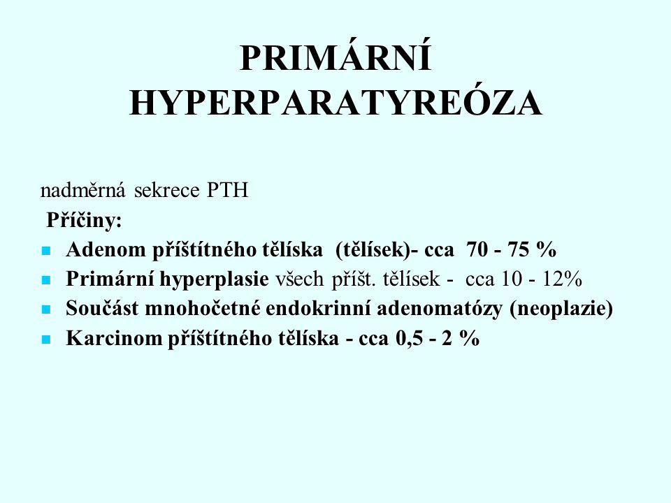 PRIMÁRNÍ HYPERPARATYREÓZA nadměrná sekrece PTH Příčiny: Příčiny: Adenom příštítného tělíska (tělísek)- cca 70 - 75 % Adenom příštítného tělíska (tělís