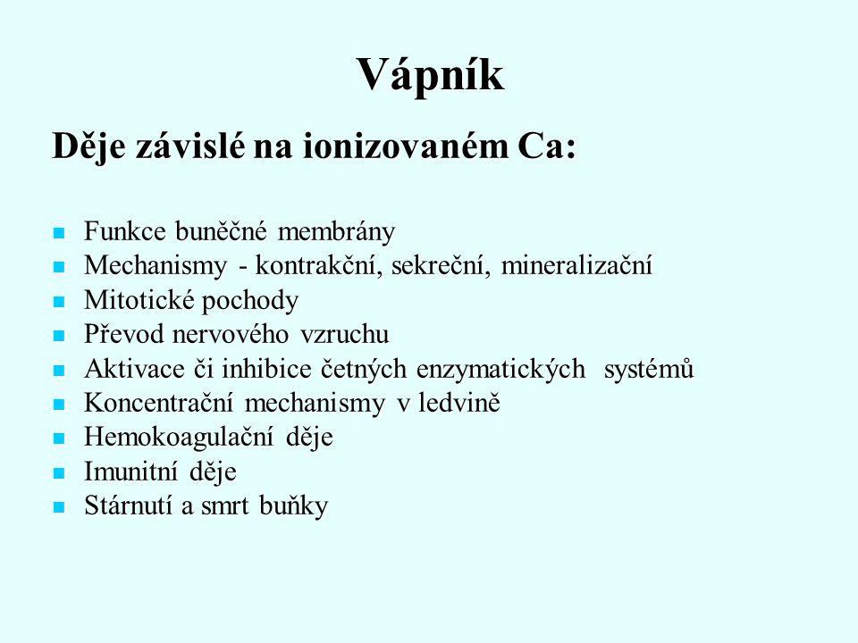 Vápník Děje závislé na ionizovaném Ca: Funkce buněčné membrány Funkce buněčné membrány Mechanismy - kontrakční, sekreční, mineralizační Mechanismy - k