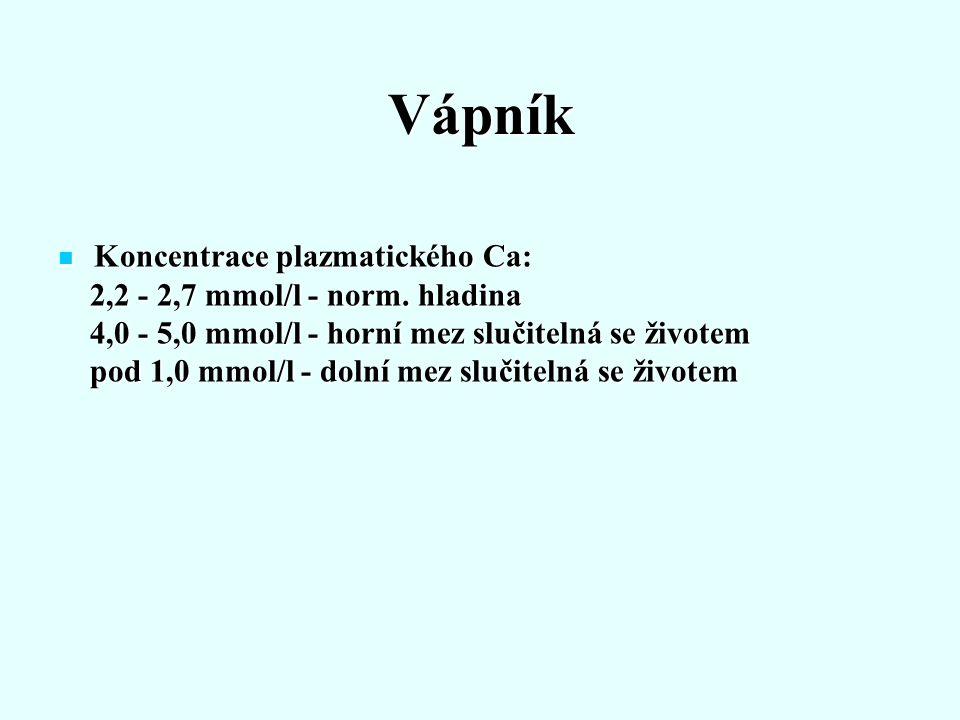 Vápník Koncentrace plazmatického Ca: Koncentrace plazmatického Ca: 2,2 - 2,7 mmol/l - norm. hladina 2,2 - 2,7 mmol/l - norm. hladina 4,0 - 5,0 mmol/l
