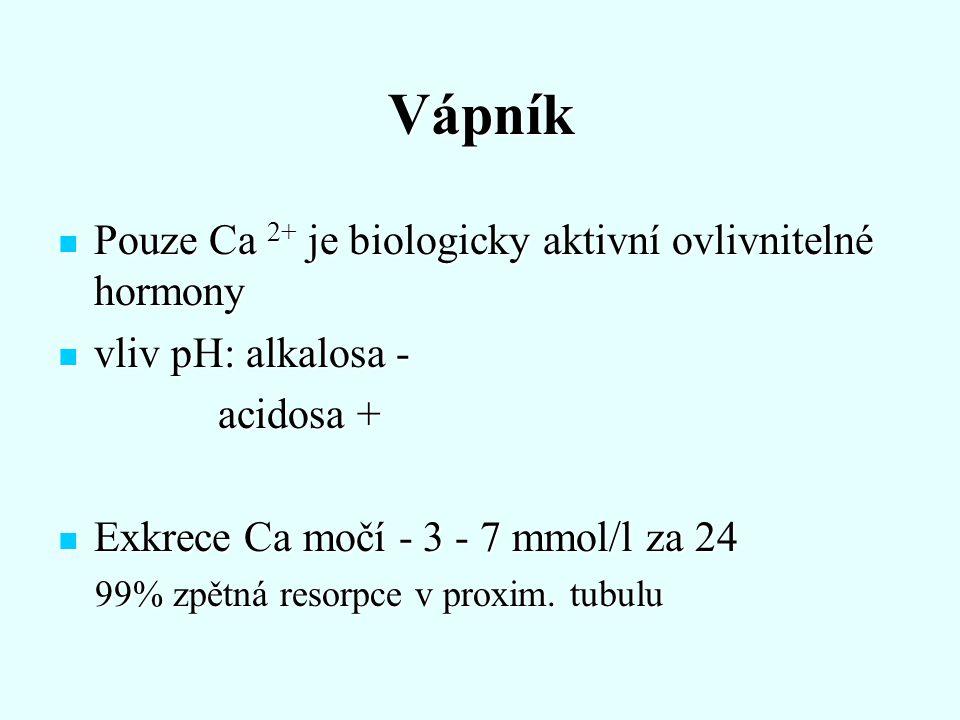 Vápník Pouze Ca 2+ je biologicky aktivní ovlivnitelné hormony Pouze Ca 2+ je biologicky aktivní ovlivnitelné hormony vliv pH: alkalosa - vliv pH: alka