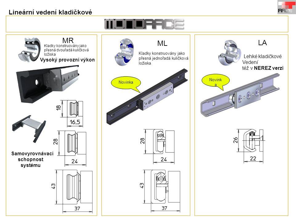 MR ML LA Kladky konstruovány jako přesná dvouřadá kuličková ložiska Vysoký provozní výkon Kladky konstruovány jako přesná jednořadá kuličková ložiska Lehké kladičkové Vedení též v NEREZ verzi Novinka Lineární vedení kladičkové Samovyrovnávací schopnost systému